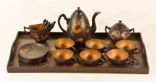 Set of Chinese Fuchow Lacquer Tea Set and Tray