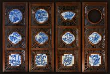 Chinese Rosewood Panel with Blue White Porcelain Panels