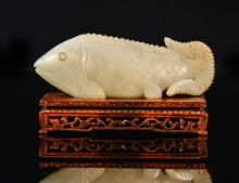 Chinese Carved Jade Fish on Wood Stand