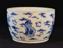 Chinese Blue White Porcelain Jar with Foolion Scene