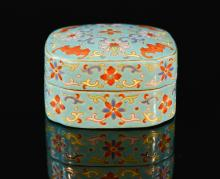 Chinese Porcelain Box with Bat Scene - Turquois Glazed Interior