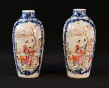 Pair Chinese Export Porcelain Vases - Ovoid Shape