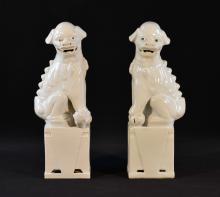 Pair Chinese Blanc de Chine Porcelain Foolion
