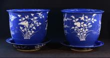 Pair Chinese Blue Porcelain Planters