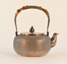 Japanese Silver Teapot with Hobnail Design