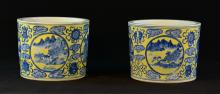 Pair of Chinese Yellow Ground Porcelain Planter with Under Glazed Blue Landscape Scene