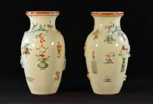 Pair of Chinese Moriage Porcelain Lantern Vases