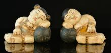 Two Carved Asian Wood Boy and Girl