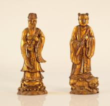 Pair Antique Chinese Figural Inkcakes with Gold Lacquer