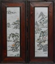Pair of Chinese Porcelain Tiles of Landscape Scene