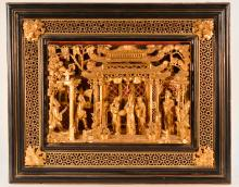 Chinese Framed Gilt Wood Panel Carving