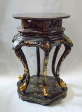 Chinese Black Lacquered Planter Stand with Gilt Decoration