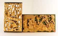 Two Chinese Carved Gilt Wood Carvings - Figural Scene