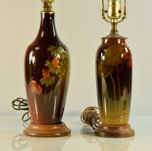 Two Rookwood Pottery Vases Lamp