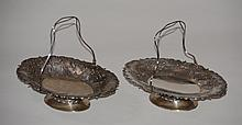 Pair Chinese Export Silver Dishes