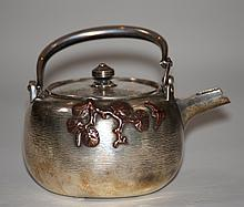 Japanese Silver Teapot with Mixed Metal