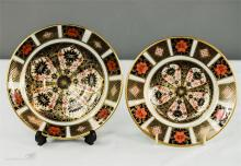 A Royal Crown Derby Old Imari dish and saucer.
