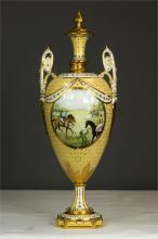 A Royal Crown Derby porcelain St Leger Vase, 1976, designed by June Bransco