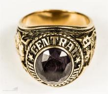 A yellow metal college ring for Central High School, stamped 10K, size S/R,