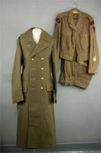 A Royal Marine Commandos battle dress, trousers and greatcoat.