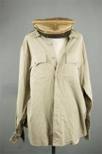 A WWII US Navy tropical cap and regulation tropical shirt.