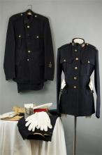 A Royal Marines Commando dress tunic, trousers, full dress cap and belt, to