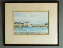William Arthur Carrick (20th century): Stonehaven Harbour, watercolour, sig