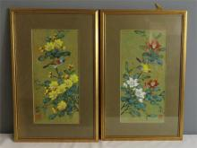 A pair of Korean gouach on paper pictures, birds amidst prunus blossom with