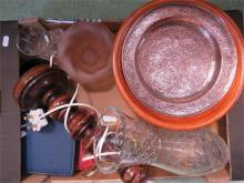 A miscellaneous group including treen bowls, lamp base, flatware and other