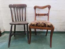 A Victorian oak single chair with carved back rail and a pine painted kitch