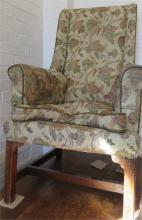 A Georgian mahogany framed high back armchair