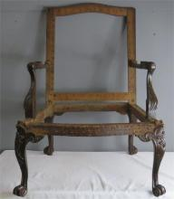 A George III mahogany Gainsborough chair, with original un-upholstered fram