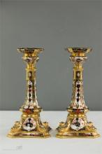 A pair of Royal Crown Derby Old Imari gold band candlesticks, 1128, 26cm hi