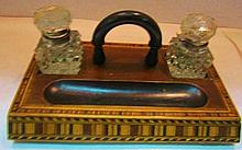 Inlaid Marquetry Inkwell Tray with 2 Inkwells