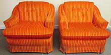 Pair of Orange Upholstered Chairs