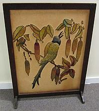 Crewel Work Screen With Birds