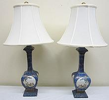 Exquisite Pr. of 1930's Oriental Lamps