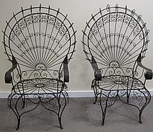 Pr. Twisted Wire French Garden Chairs