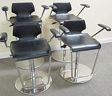 4 Italian Chrome & Leather Adjustable Stools