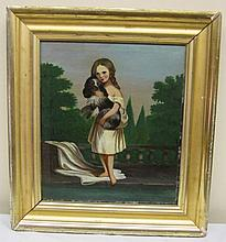 19th Century Folk Painting (Girl with Dog)