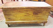 Mustard & Red Washed 19th Century Blanket Box