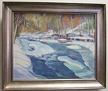 Painting, Winter Scene with Stream