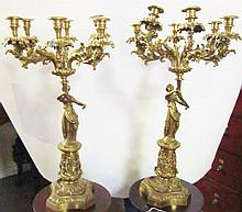 Pair of Brass Candelabra