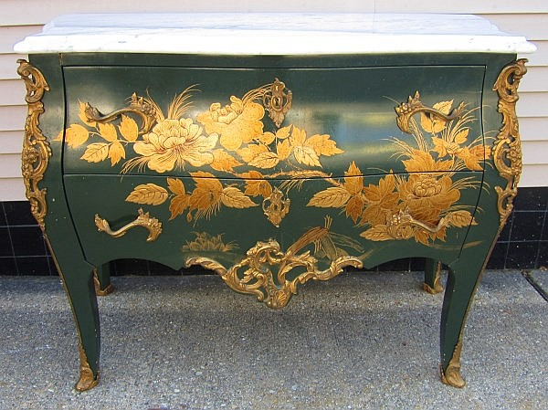 Paint Decorated Marble Top Commode