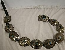 Exceptional Turquoise and Silver Belt Signed R Mateo