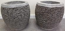 Exceptional Pair of Concrete and Slate Pots