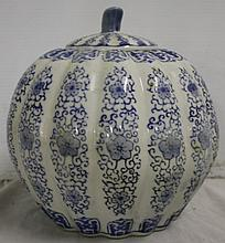 Blue/White Chinese Porcelain Covered Gourd Vessel