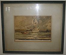Nice Watercolor Sailing Ship
