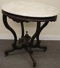 Oval Marble Top Victorian Table