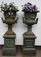 Pair of Cast Iron 2 Part Garden Urns